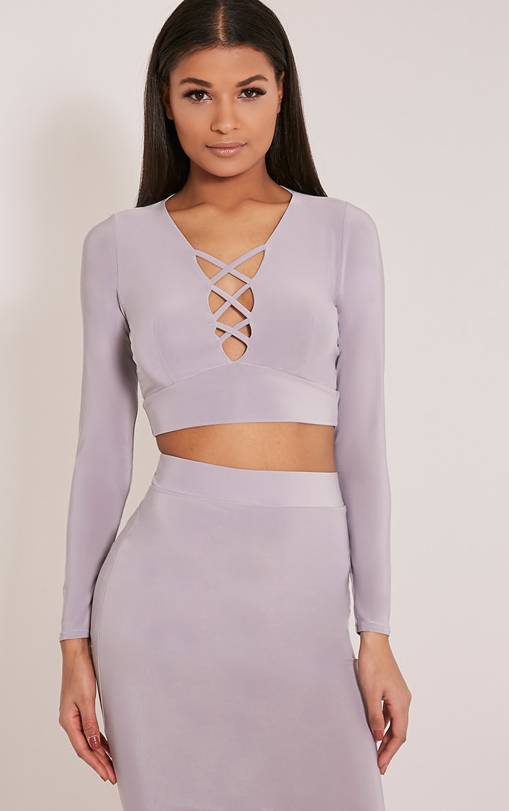 Malin Grey Strap Detail Crop Top 1