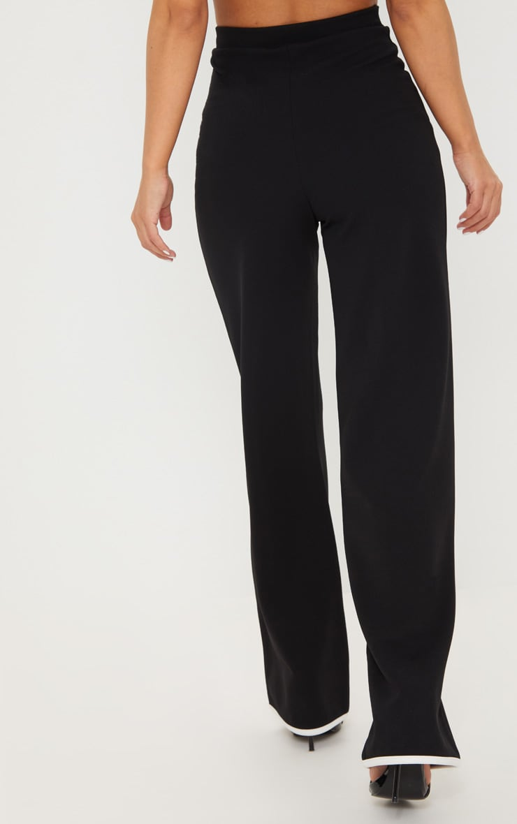 Petite Black Binding Detail Wide Leg Trouser 4