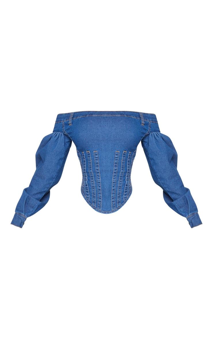 Shape Mid Blue Wash Denim Bardot Balloon Sleeve Corset 5