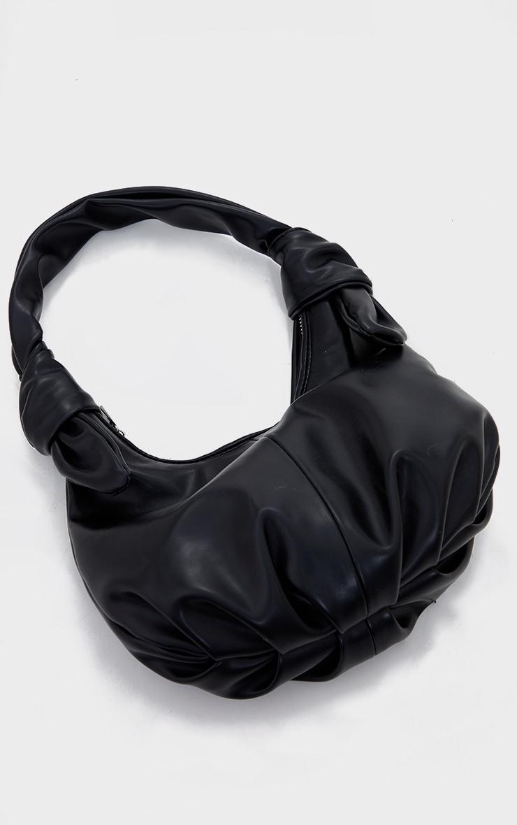 Black Double Knot Rounded Shoulder Bag 2