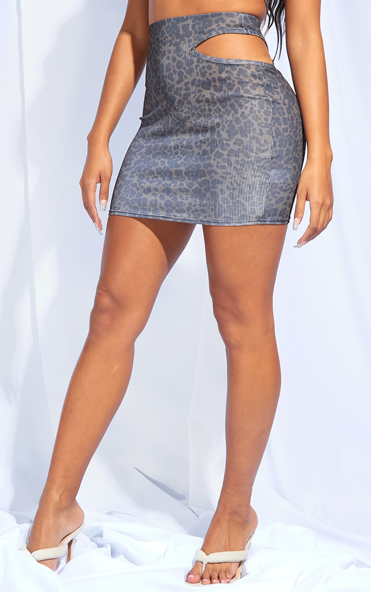 Shape Leopard Print Rib Cut Out Side Bodycon Skirt 2