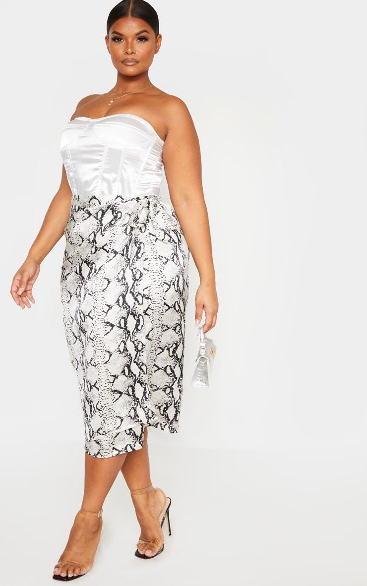 Plus Taupe Snake Print Wrap Around Midi Skirt  1