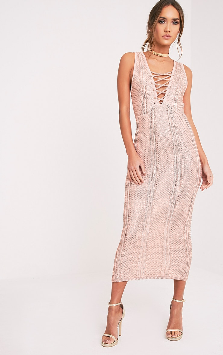 Avanya Blush Metallic Knitted Midi Dress 5