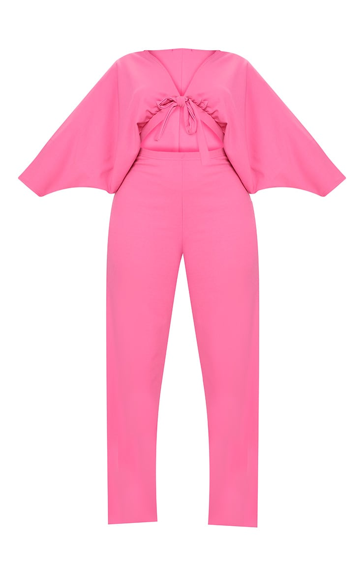 Plus Hot Pink Crepe Batwing Cut Out Jumpsuit 3
