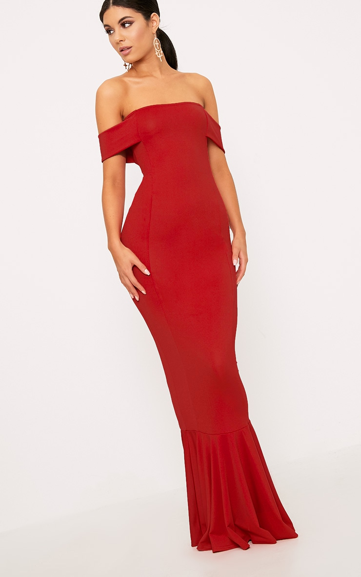 Red Bardot Frill Hem Maxi Dress 1