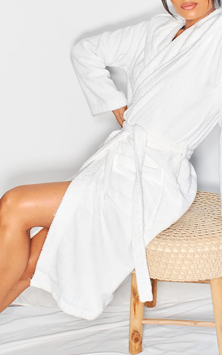 White Hooded Towelling Dressing Gown 4