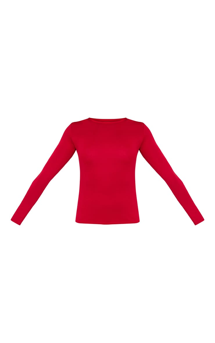 Basic Red Long sleeve Fitted T Shirt 3