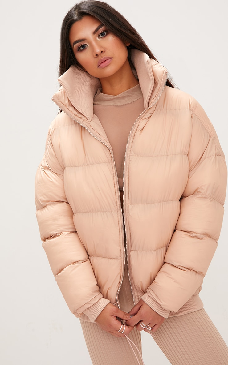 Nude Oversized Puffer Jacket with Zip Pockets 1