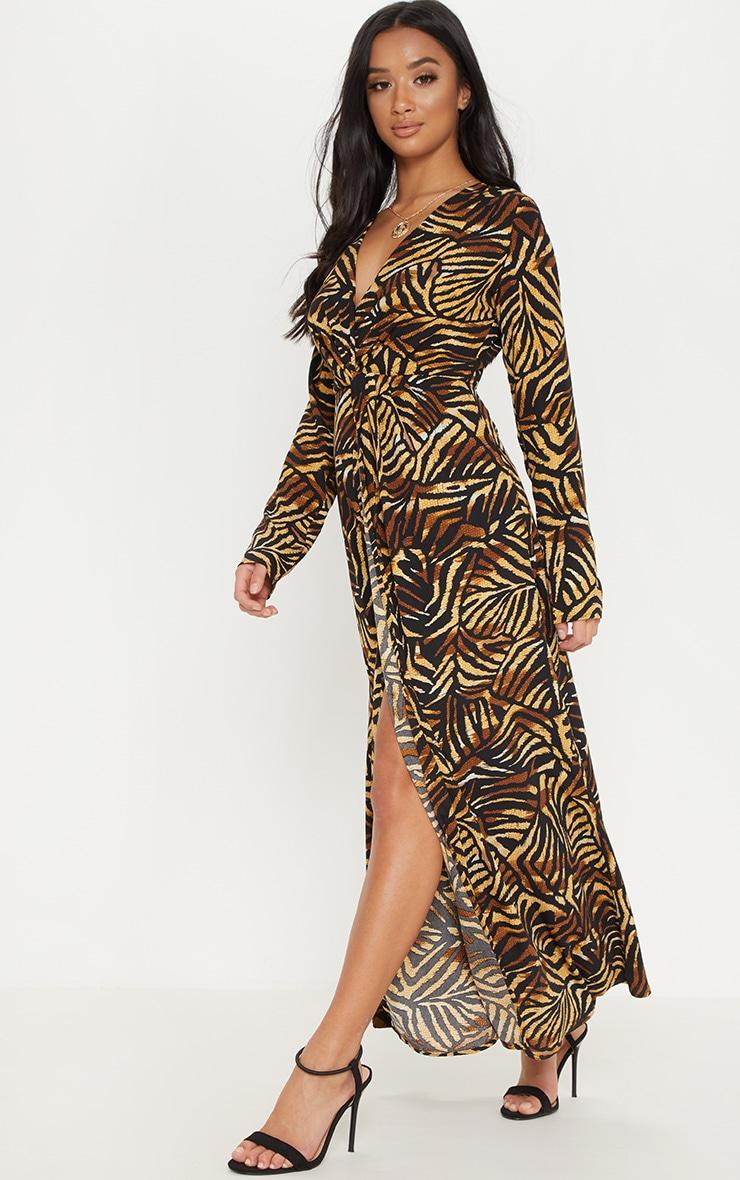Petite Brown Tiger Print Twist Front Maxi Dress 1