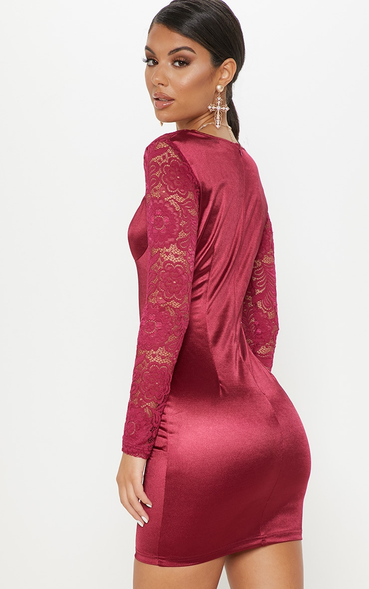 Plum Satin Lace Sleeve Bodycon Dress 2