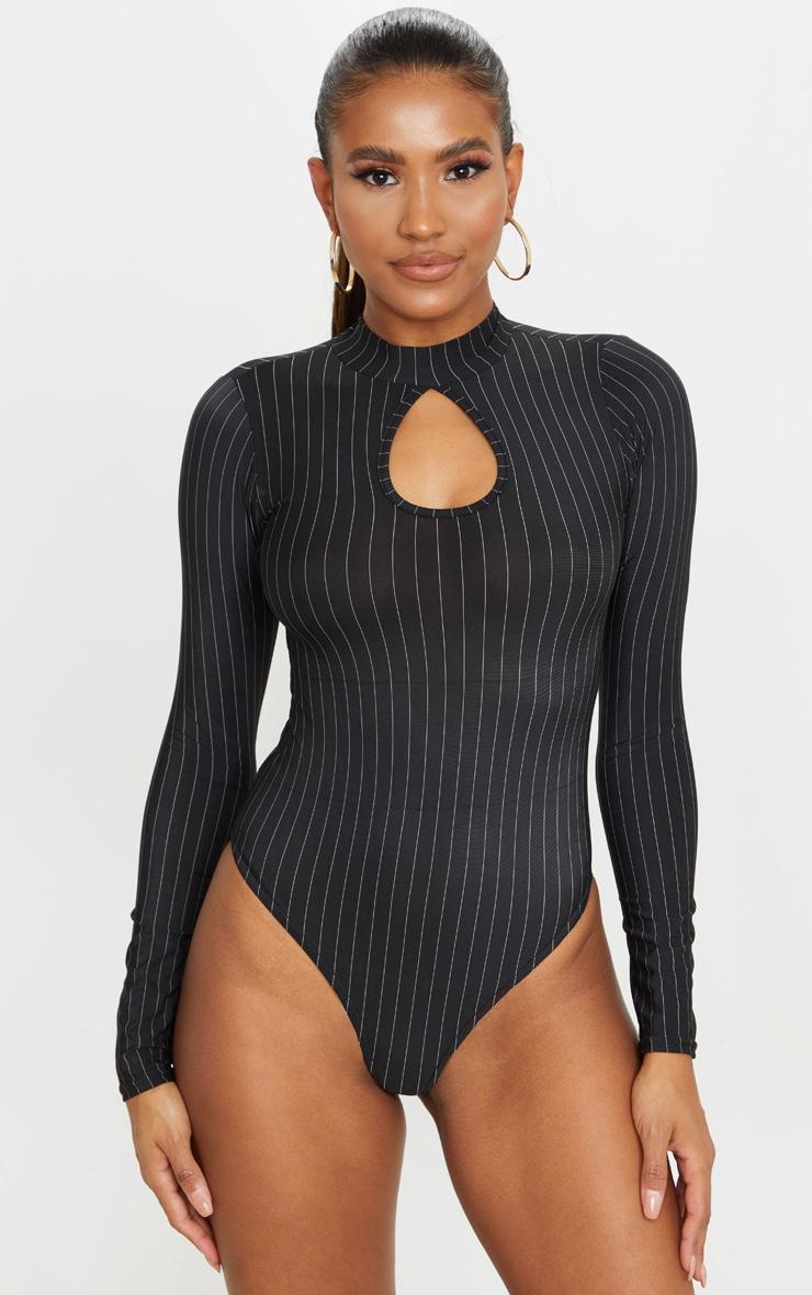 Black Pinstripe Slinky Key Hole High Neck Bodysuit 2