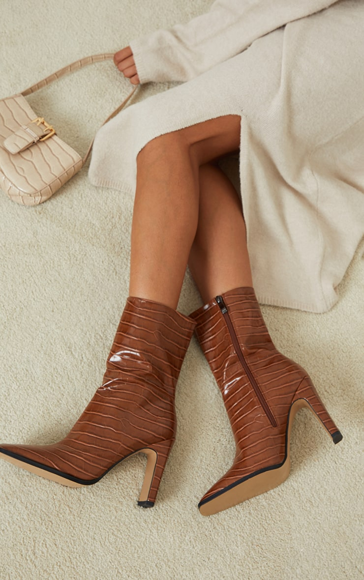 Tan PU Snake Flat Heeled Ankle Boots 1