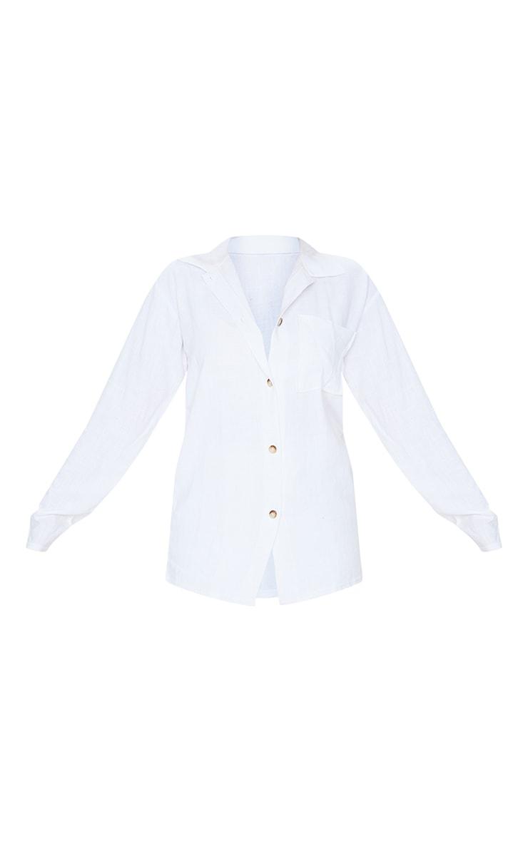 White Oversized Linen Feel Shirt 5