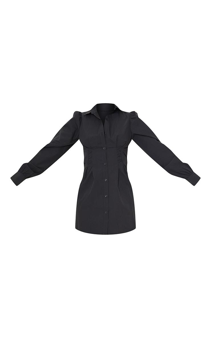 Tall Black Corset Detail Long Sleeve Shirt Dress  5
