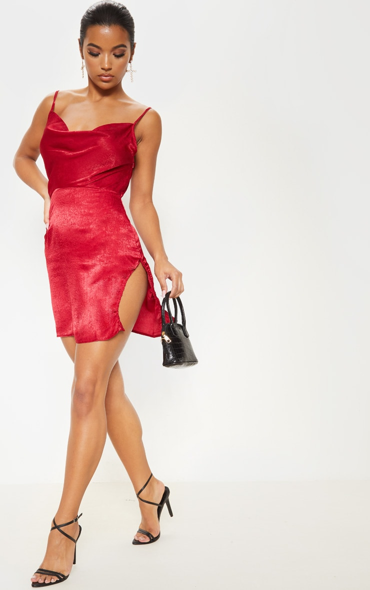 Scarlet Hammered Satin Cowl Ruched Split Bodycon Dress 4