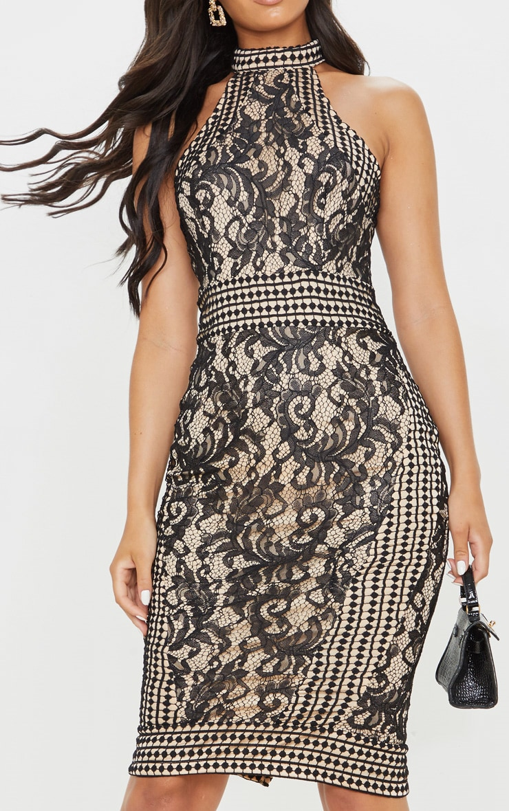 Black Lace Crochet High Neck Midi Dress 5