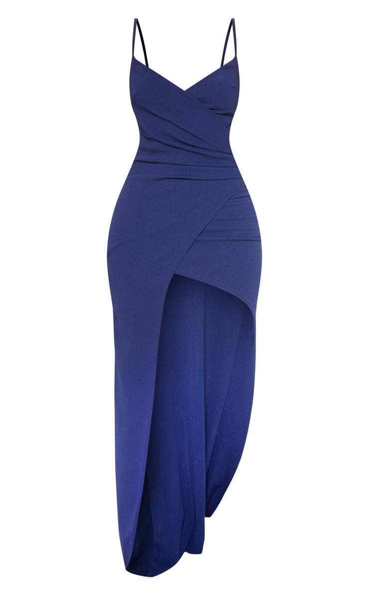 Midnight Blue Wrap Front Crepe Maxi Dress 3