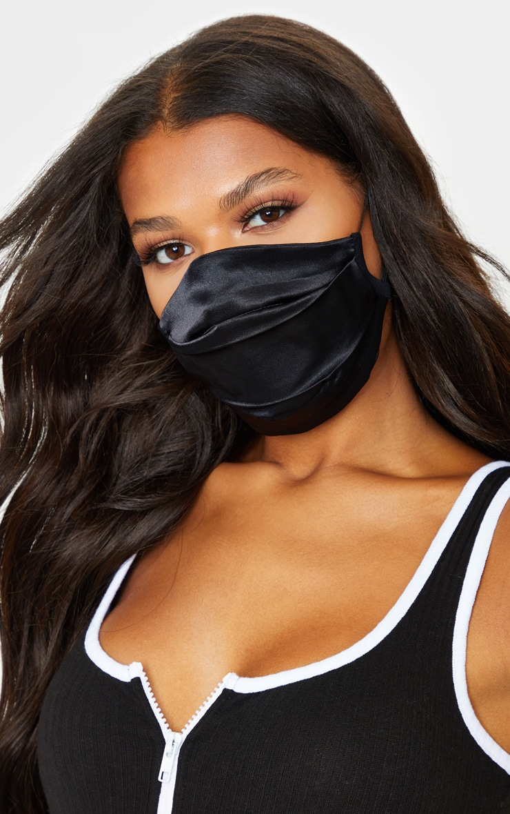 Black Pleated Satin Two Pack Mask 2