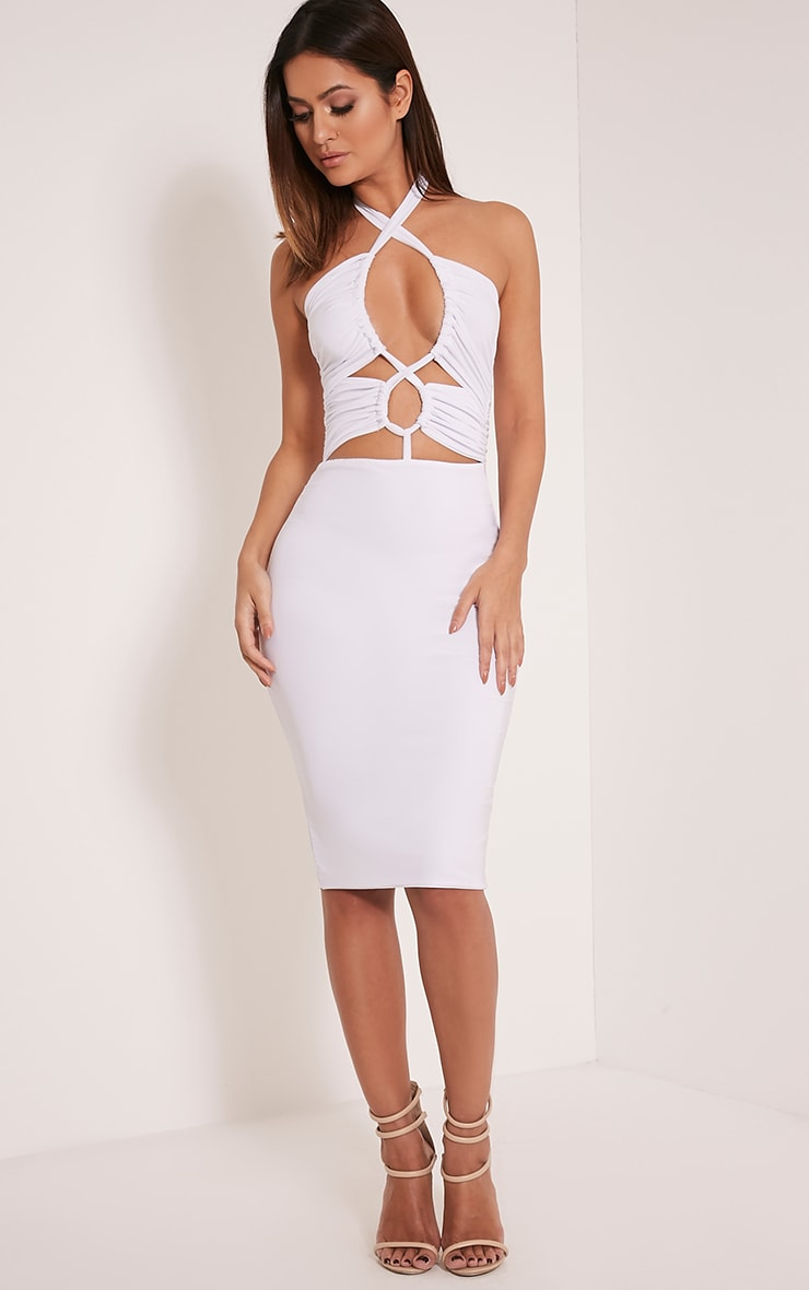 Meeka White Ruched Halterneck Cut Out Midi Dress 1