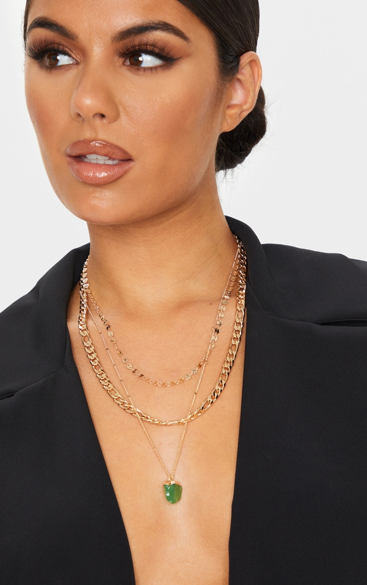 Gold Chain Crystal Layering Necklace 1