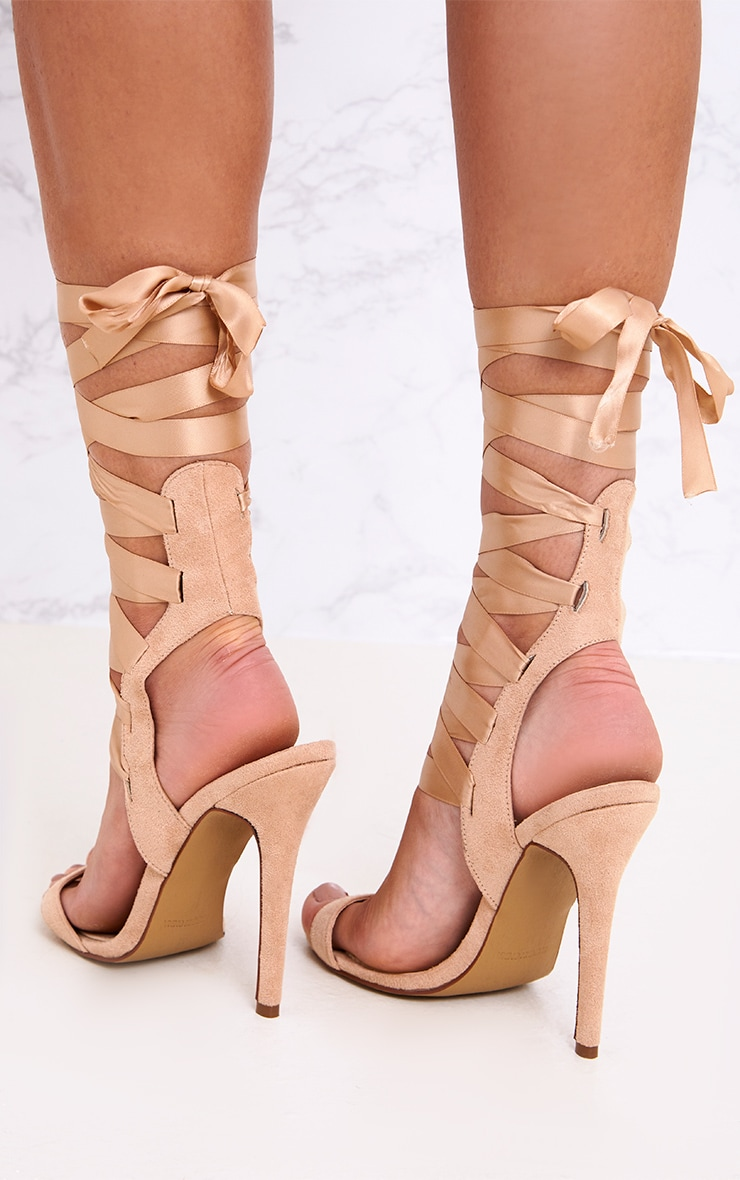 Lorele Nude Ribbon Lace Up Heeled Sandals 3