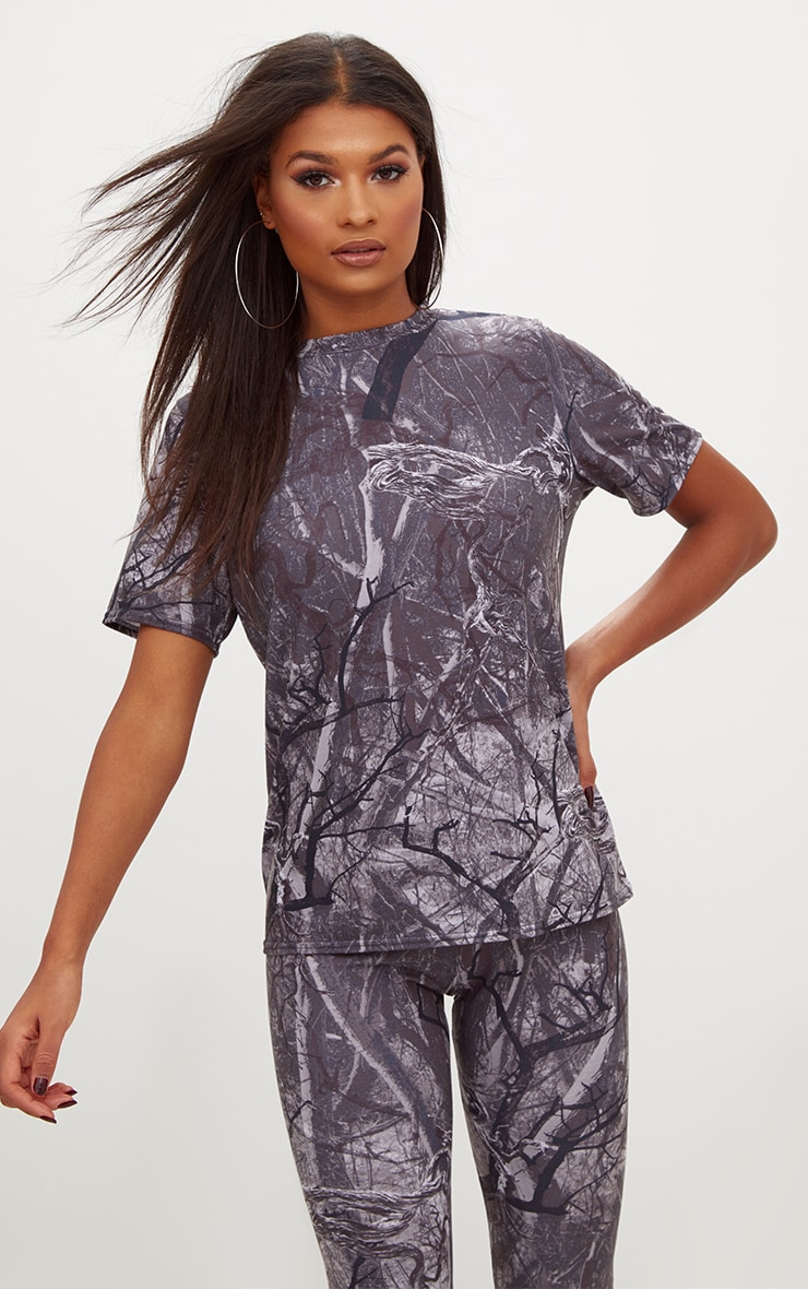 Grey Forest Print Camo Oversized T Shirt 1