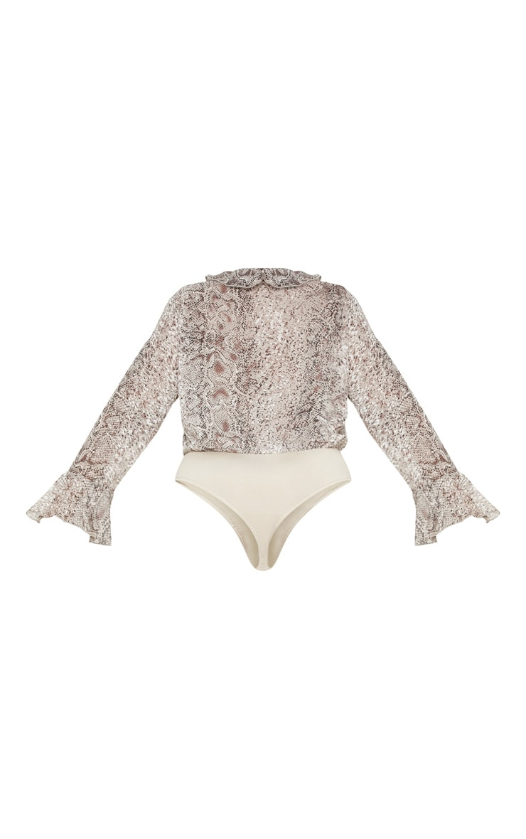 Plus Taupe Chiffon Snake Tie Front Bodysuit 4