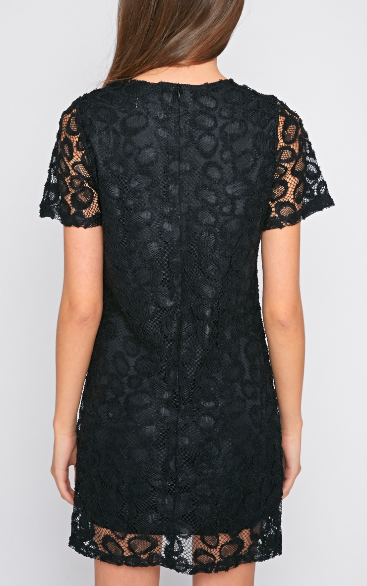 Kate Black Floral Lace Shift Dress 2