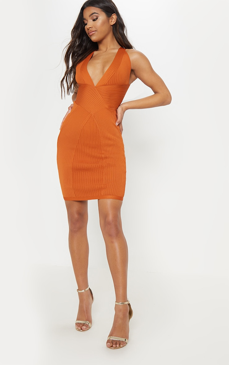 Rust Plunge Bandage Midi Dress 4