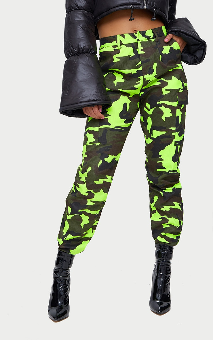 Lime Camo Print Cargo Trousers 2
