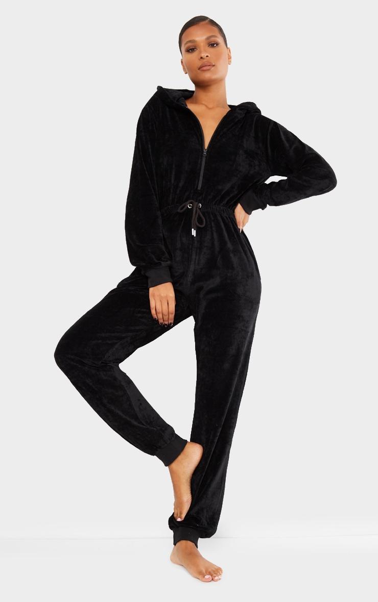 PRETTYLITTLETHING Black Diamante Velour Jumpsuit 2