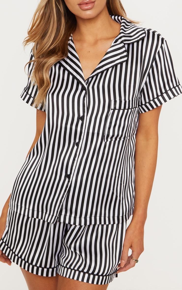 Black & White Striped Button Up Short Pyjama Set  5