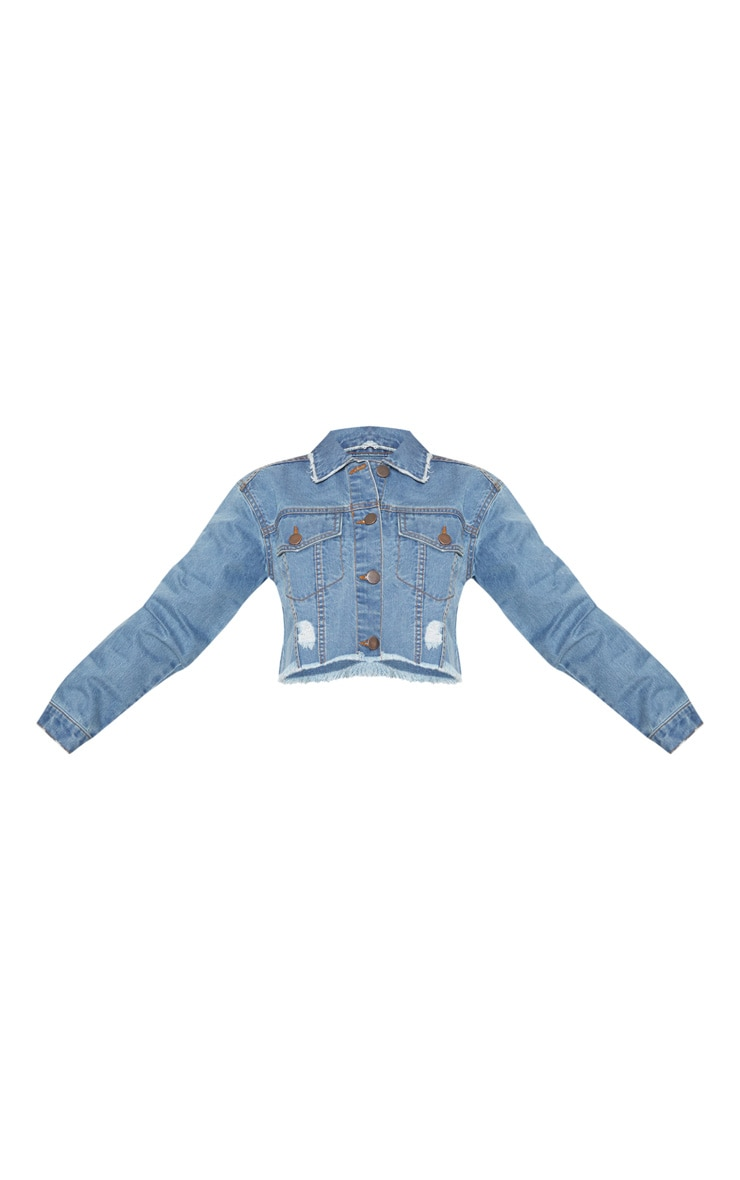 Petite Light Wash Raw Edge Cropped Denim Jacket  3