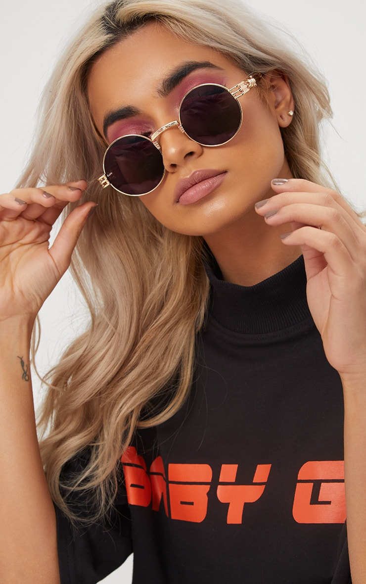 Black Rounded Metal Frame Retro Sunglasses image 1