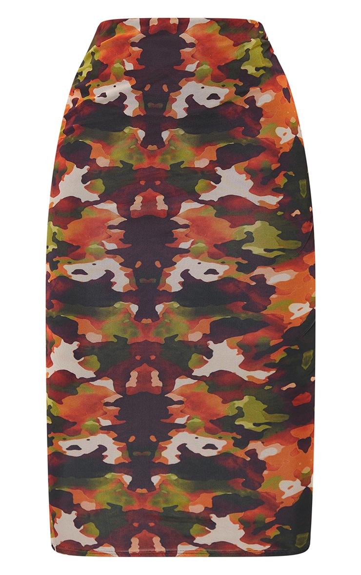 Shape Orange Camo Print Mesh Midaxi Skirt 5