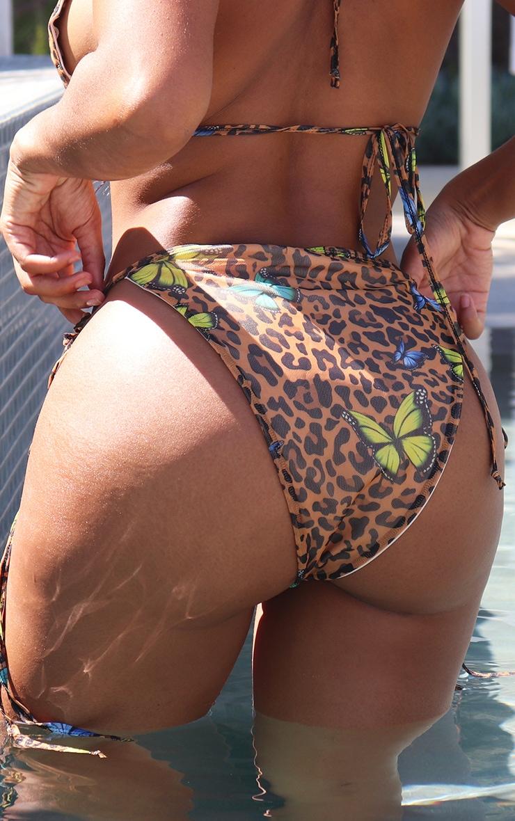 Shape Multi Butterfly Print Mesh Tie Side Bikini Bottoms 2