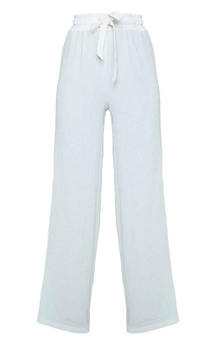 White Textured Drawstring Waist Wide Leg Trouser 5