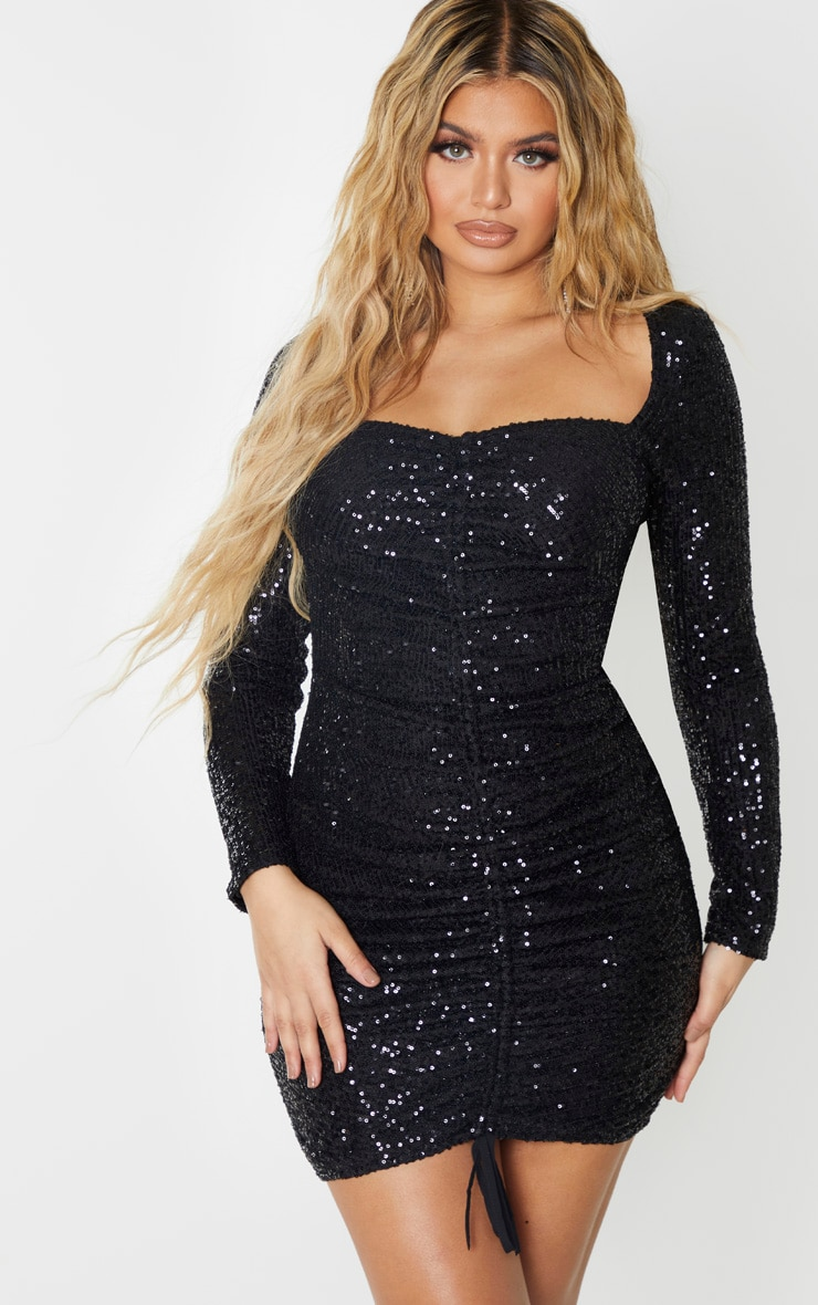 Black Sequin Long Sleeve Ruched Bodycon Dress 1