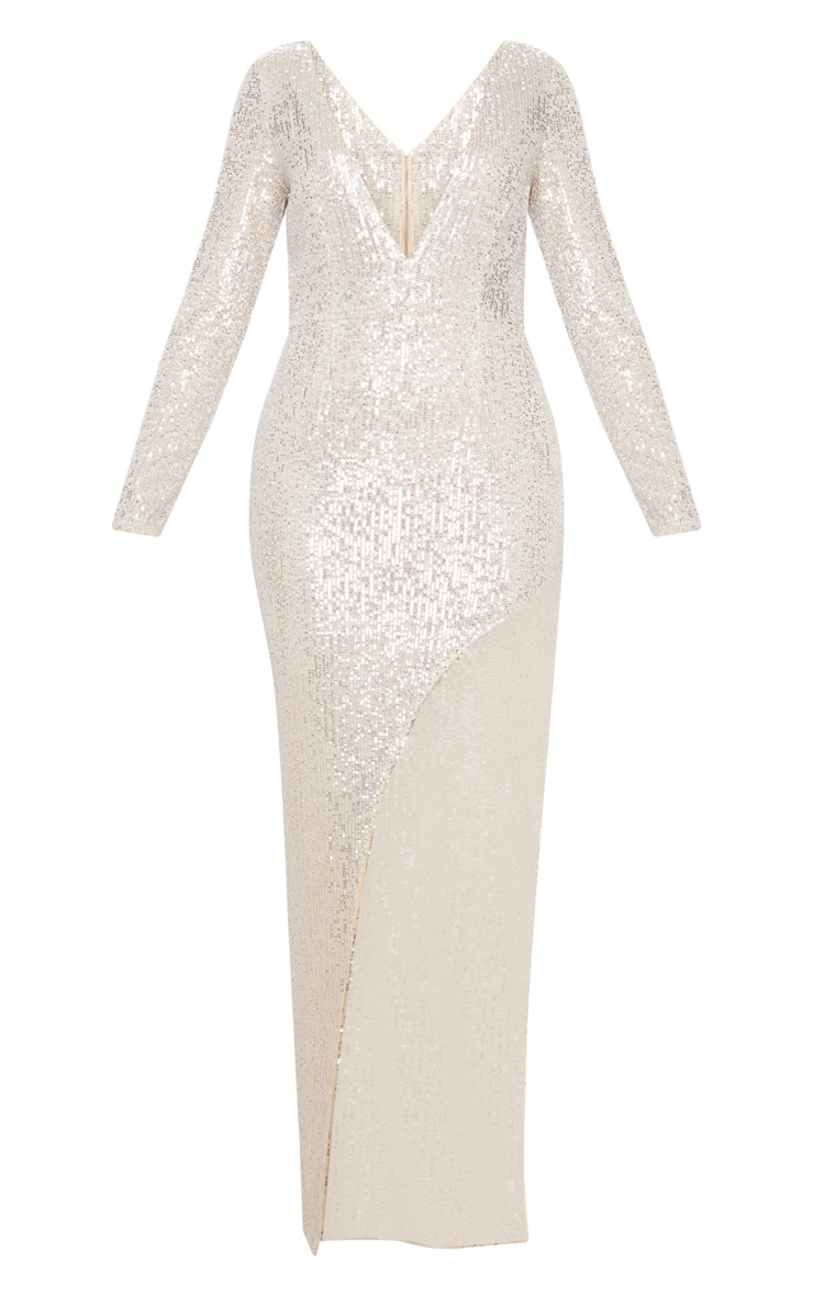 Silver Sequin Long Sleeve Plunge Maxi Dress 3