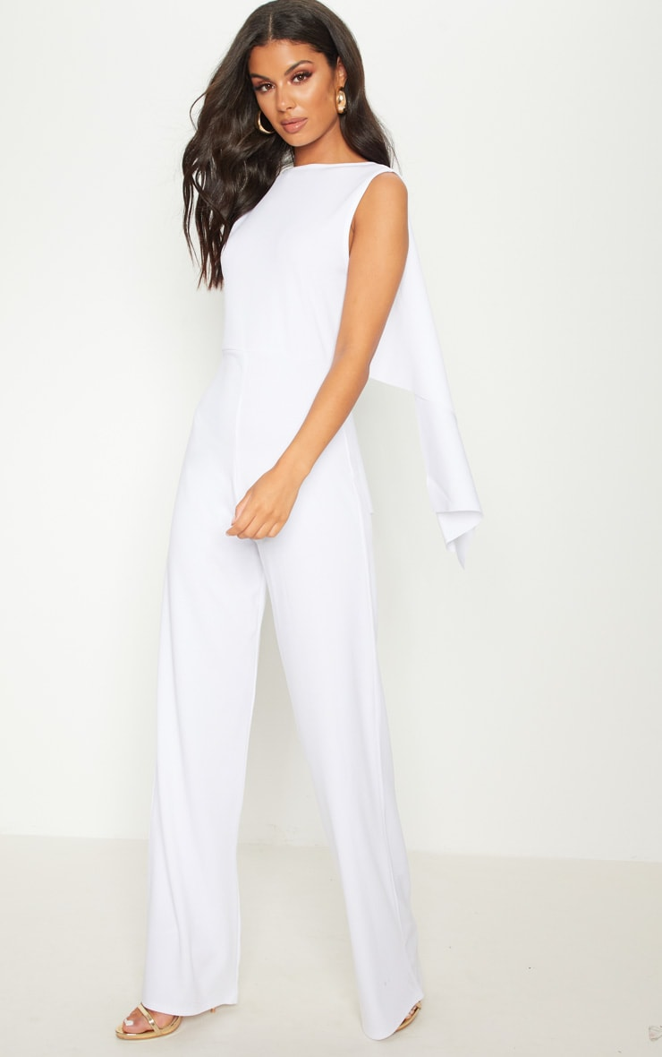 White Crepe Cape Low Back  Detail Jumpsuit  4