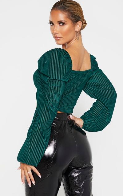 Emerald Green Velvet Rib Puff Sleeve Crop Top