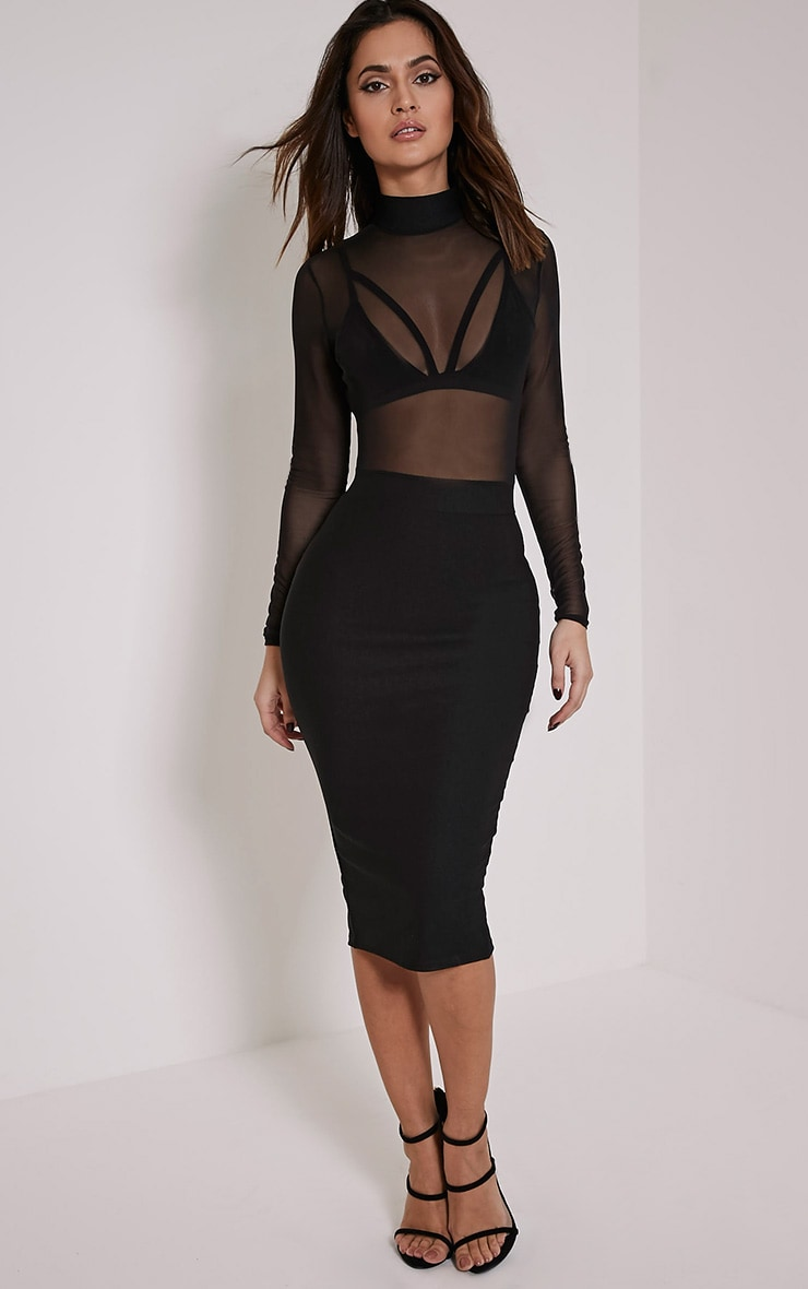Kelly Black Mesh Top Midi Dress 1