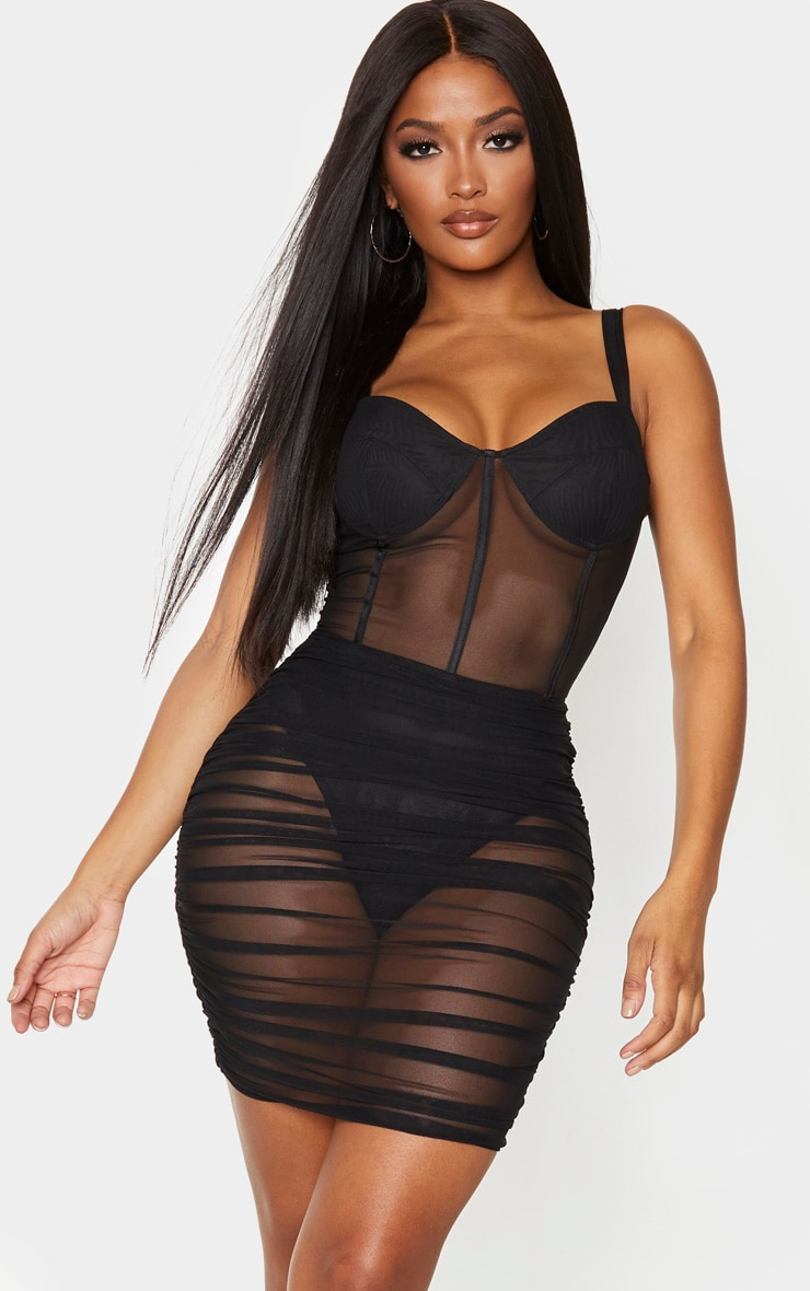 Shape Black Mesh Cup Detail Binding Bodycon Dress 1
