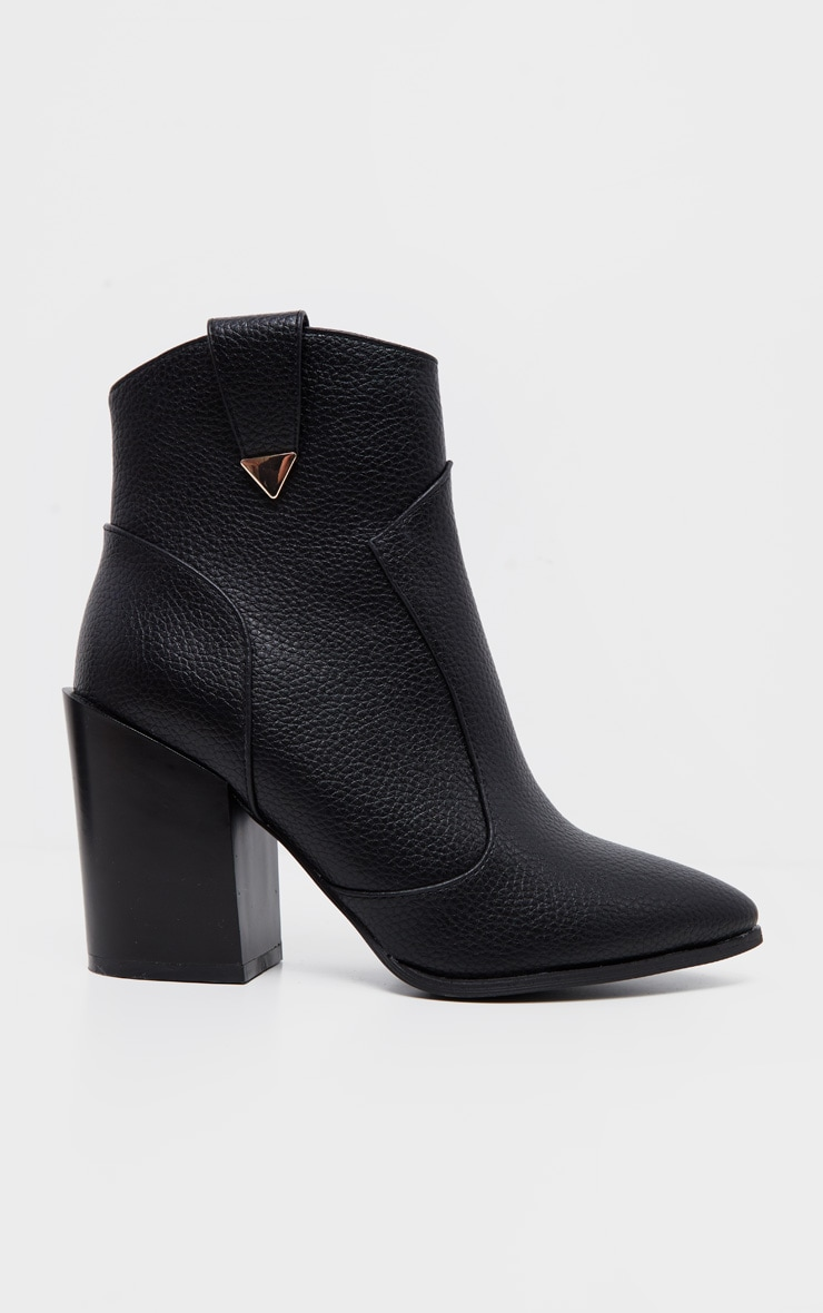 Black Western Detail Ankle Boot 3