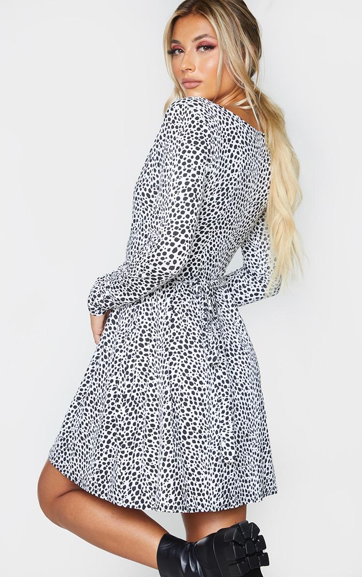 White Dalmatian Print Wrap Long Sleeve Tea Dress 2
