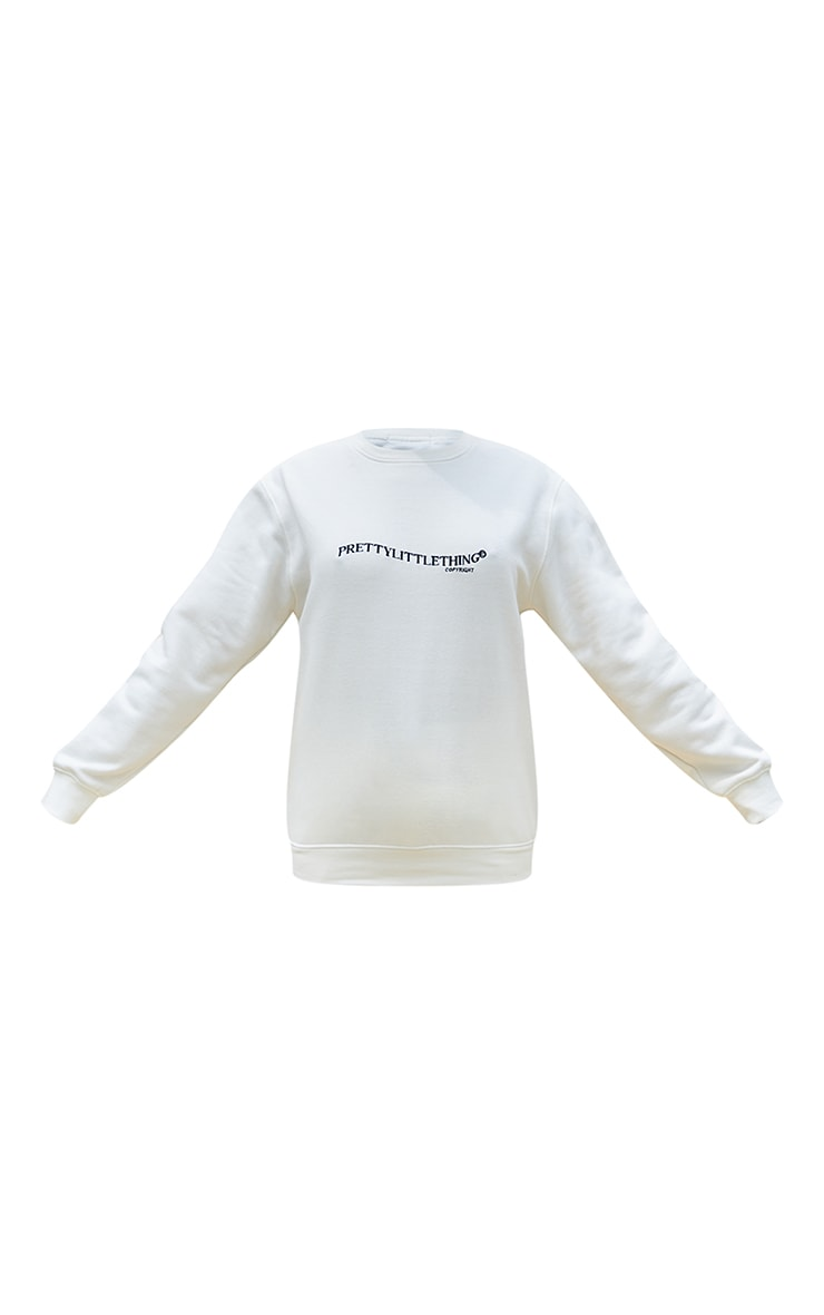 PRETTYLITTLETHING Cream Copyright Embroidered Sweater 5
