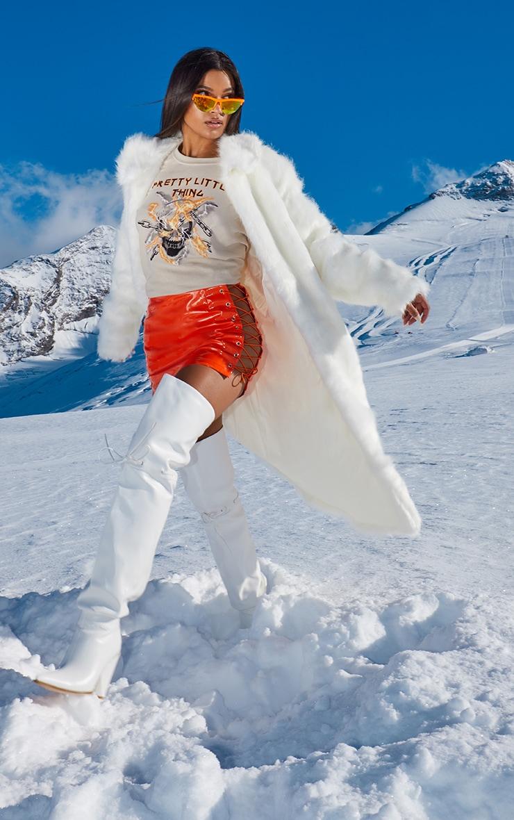 Cream Maxi Faux Fur Coat  1