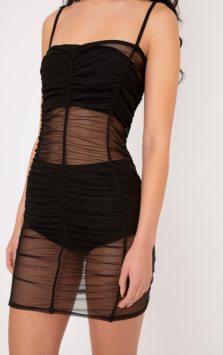 Anya Black Mesh Mini Dress 4