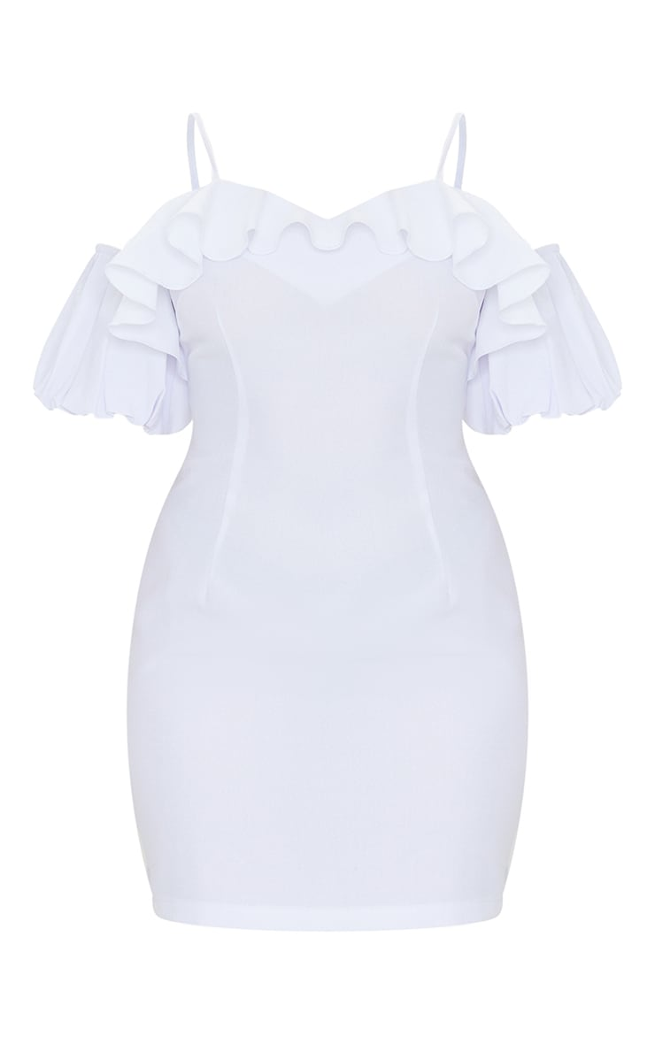 Petite White Frill Detail Ruffle Light Weight Mini Dress 1