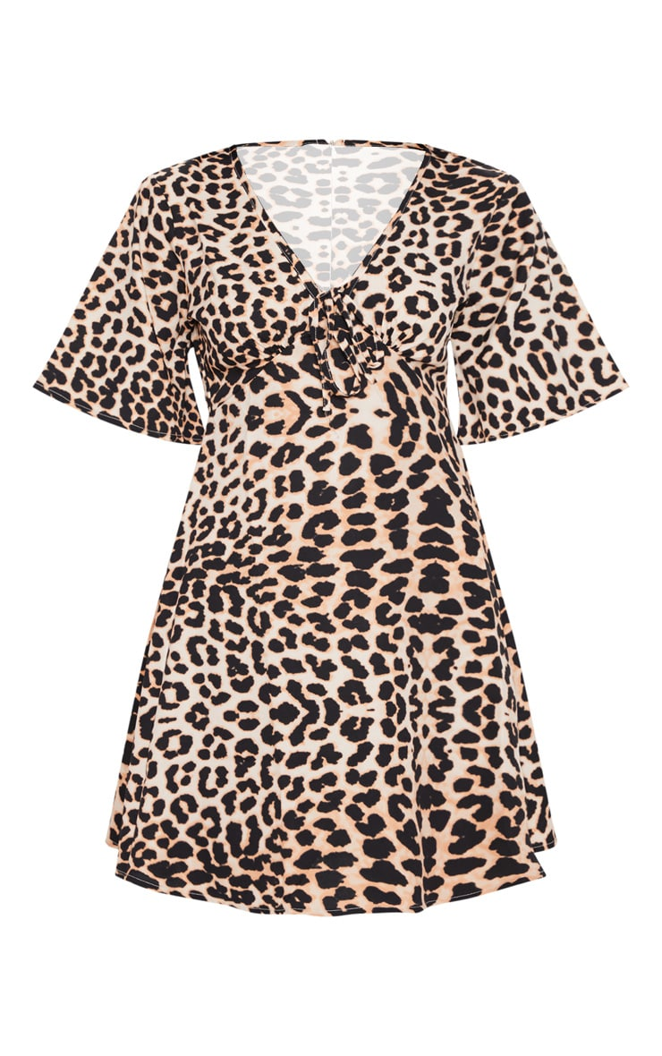 Black Leopard Print Tie Detail Swing Dress 3